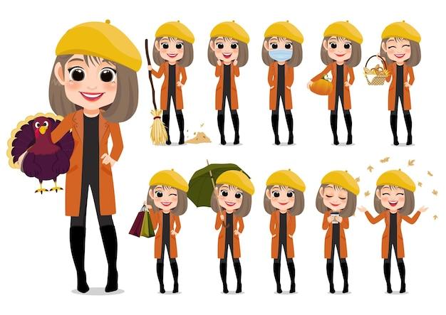 Raccolta di attività all'aperto del personaggio dei cartoni animati della ragazza di autunno con la giacca arancione e il cappello giallo, fumetto isolato su fondo bianco
