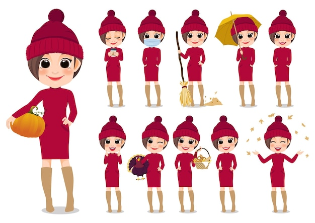Raccolta delle attività all'aperto del personaggio dei cartoni animati della ragazza di autunno con il maglione rosso e il cappello lavorato a maglia, fumetto isolato sull'illustrazione bianca di vettore del fondo