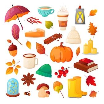 Raccolta di foglie autunnali cibo e oggetti per hobby isolati su bianco