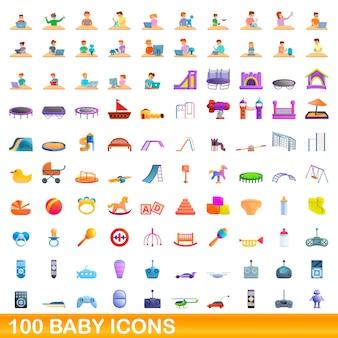 Raccolta di icone del bambino isolato su bianco