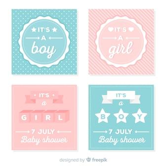 Collezione di carte di baby shower