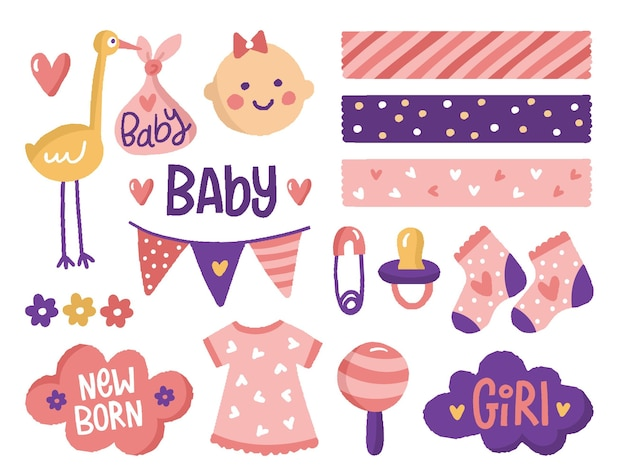 Raccolta di elementi di scrapbook baby shower