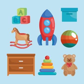 Collezione di giocattoli per bambini