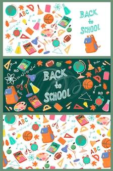 Raccolta di banner di ritorno a scuola.