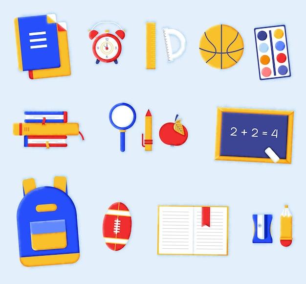 Raccolta di elementi di ritorno a scuola