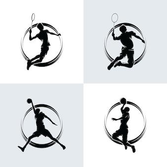 Collezione di badminton e logo di basket