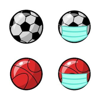 Raccolta di palline con maschere sanitarie vettore premium