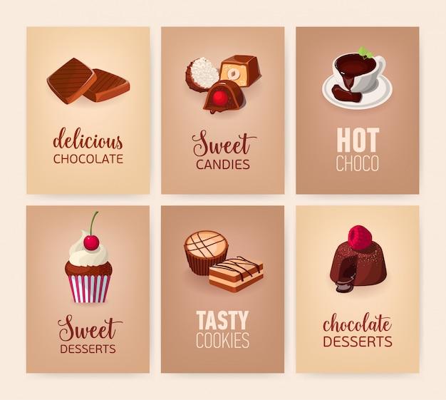 Raccolta di banner con deliziosi dessert o gustosi piatti e bevande dolci Vettore Premium