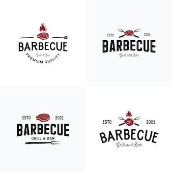 Collezione di set logo barbecue e steakhouse
