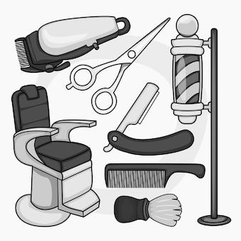 Raccolta di strumenti da barbiere