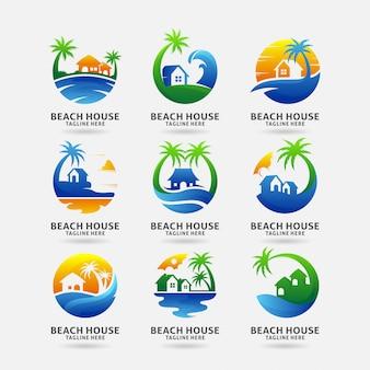 Collezione di design logo casa sulla spiaggia Vettore Premium