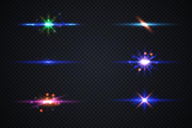 Raccolta di bella lente luminosa razzi percorso di clipping