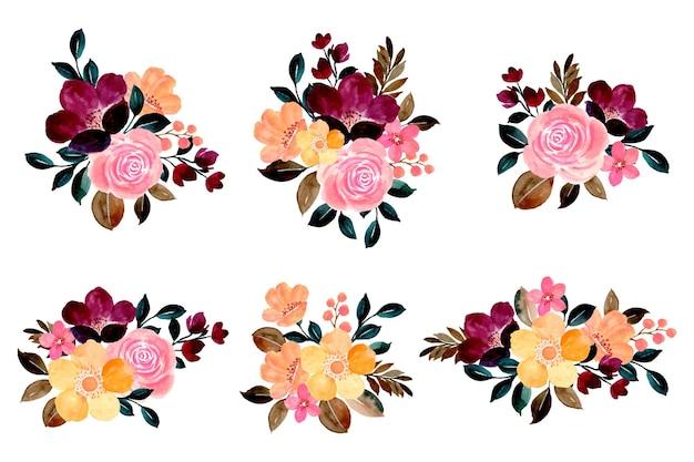 Collezione di bellissimi bouquet di fiori colorati con acquerelli