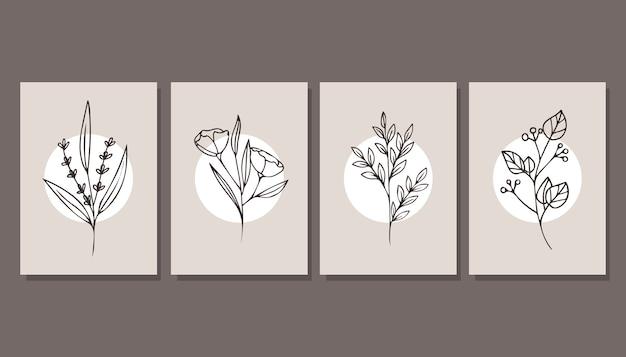Collezione di bellissimi poster con piante. minimalismo. arte moderna.
