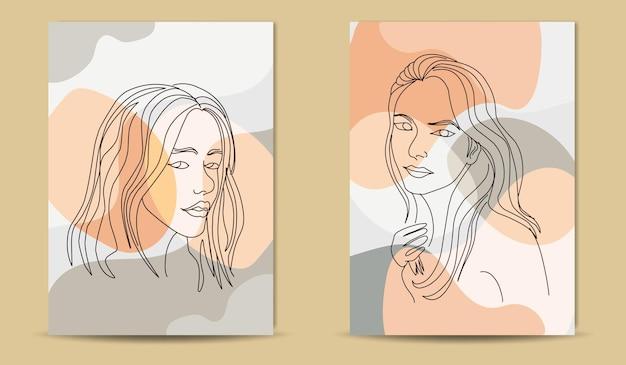 Collezione di bellezza donna viso minimal linea disegnata a mano arte boho metà secolo