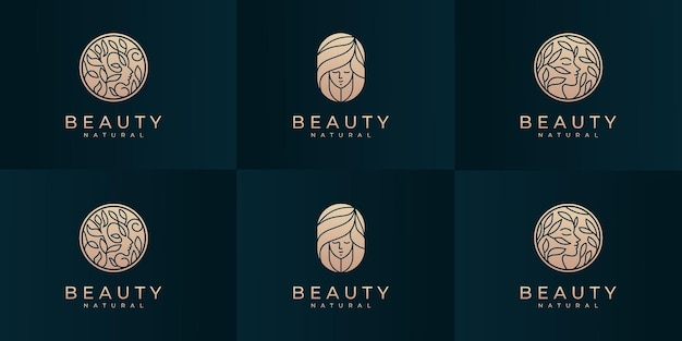 Raccolta di modello di progettazione del logo del viso della donna di bellezza.