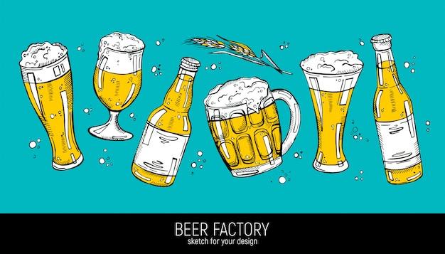 Raccolta di illustrazione di birra