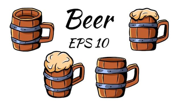 Collezione di boccali di birra per la birra. illustrazione vettoriale. isolato su uno sfondo bianco.
