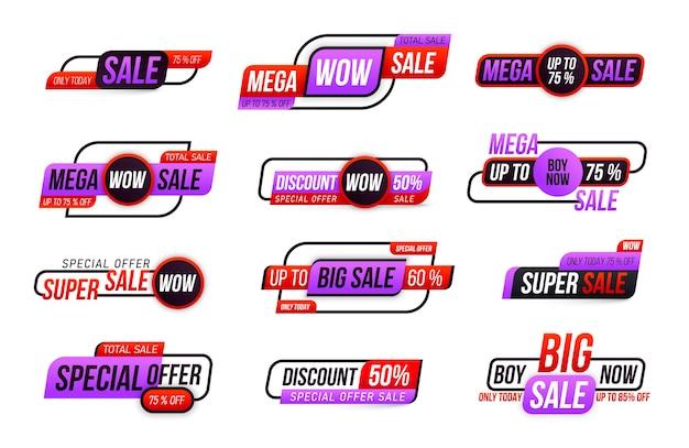 Raccolta di tag grande vendita isolato su bianco