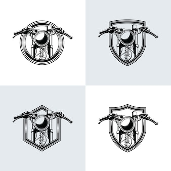 Collezione di design del logo della competizione di gara ciclistica