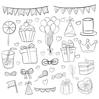 Raccolta di elementi di compleanno con stile doodle su bianco
