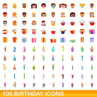 Raccolta di icone di compleanno isolato su bianco