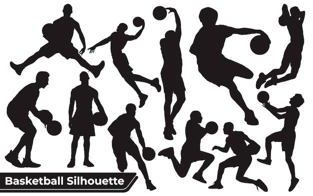 Collezione di sagome di giocatori di basket neri