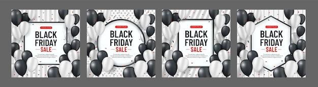 Raccolta di banner di vendita venerdì nero con palloncini bianchi e neri e serpentine