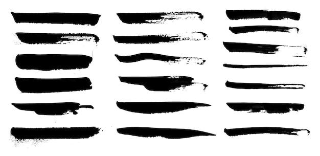 Raccolta di pennellate di acquerello vernice mano nera, elementi effetto grunge