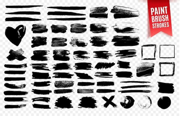Raccolta di pennellate di vernice nera, elementi effetto grunge.
