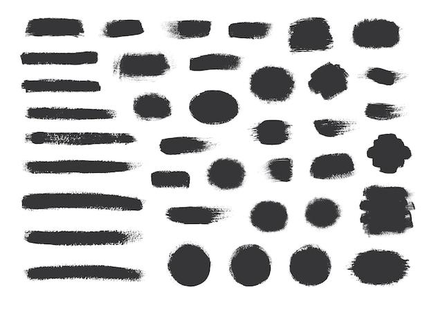Raccolta di vernice nera, pennellate di inchiostro, pennelli, linee.