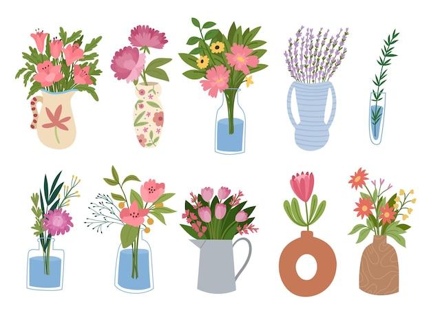 Raccolta di mazzi di fiori che sbocciano in vasi isolati