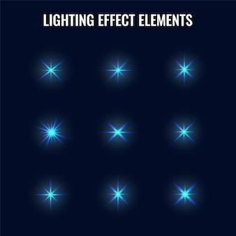 Collezione di effetti di luce blu come il bagliore elemento effetto incandescente premium vector