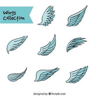 Raccolta di ali blu in stile disegnato a mano