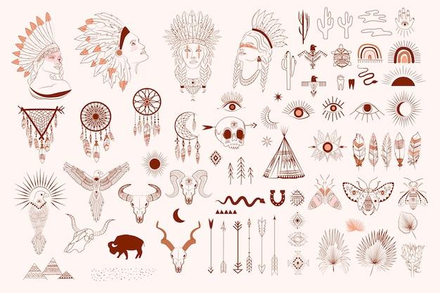 Raccolta di boho e elementi tribali, ritratto di volto di donna, acchiappasogni, uccelli, teschio di animali