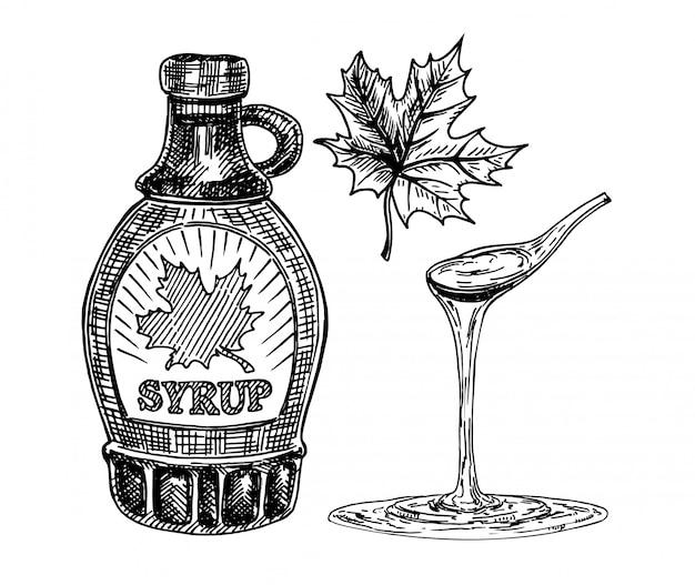 Raccolta di una bottiglia di sciroppo d'acero e foglie di acero. sciroppo d'acero gocciolante da un cucchiaio. disegnato a mano