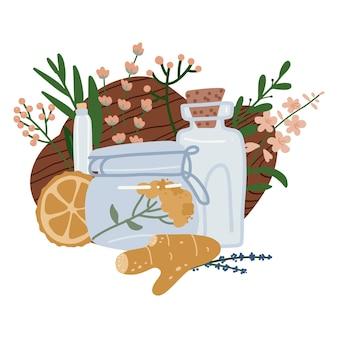 Collezione di bottiglie e vasetto con oli essenziali di lavanda, zenzero, bergamotto e agrumi. illustrazione disegnata a mano di cosmetici a base di erbe.