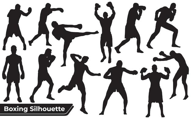 Collezione di silhouette di boxe e bodybuilder