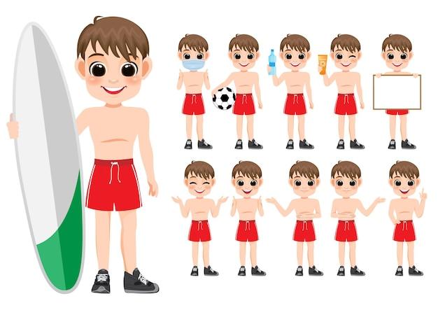 Raccolta di attività all'aperto di estate 10 del personaggio dei cartoni animati del ragazzo con abbigliamento sportivo o da nuoto, fumetto isolato su fondo bianco illustrazione vettoriale
