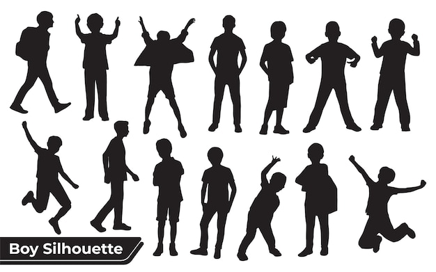 Collezione di sagome di ragazzi o bambini in diverse pose set