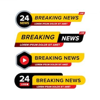 Collezione di banner di ultime notizie progettato in diversi stili e forme