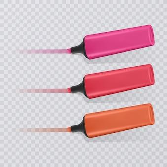 Collezione di evidenziatori luminosi e colorati con marcature, pennarelli realistici su trasparente