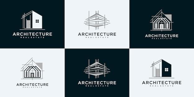 Raccolta di modelli di progettazione di loghi per set di architettura degli edifici