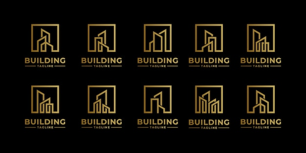 Collezione di set di architettura della costruzione, simboli di design del logo immobiliare