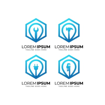 Collezione di design del logo per la costruzione di edifici