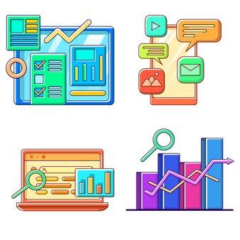 Raccolta di concetto di affari e finanziari in flat design illustration