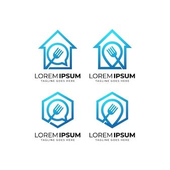 Raccolta di design del logo di cibo sano aziendale