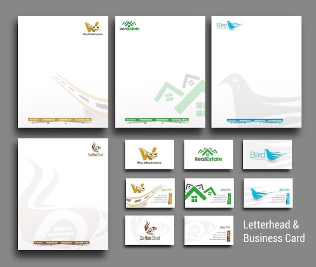 Raccolta di modelli di carta intestata e biglietto da visita di identità aziendale in stile business