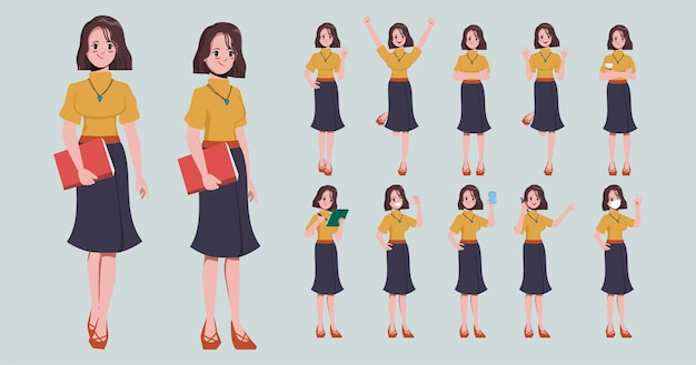 Raccolta della donna di affari nella posa del carattere di lavoro.