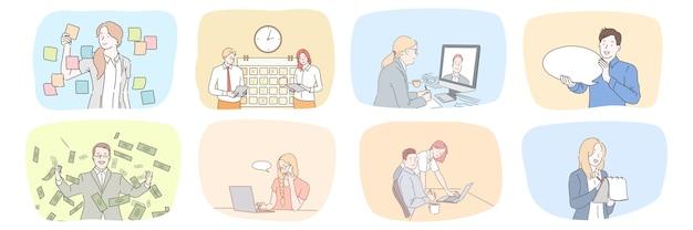 Raccolta di uomini d'affari donne impiegati manager lavorano insieme nella strategia di pianificazione dell'ufficio parlando online.